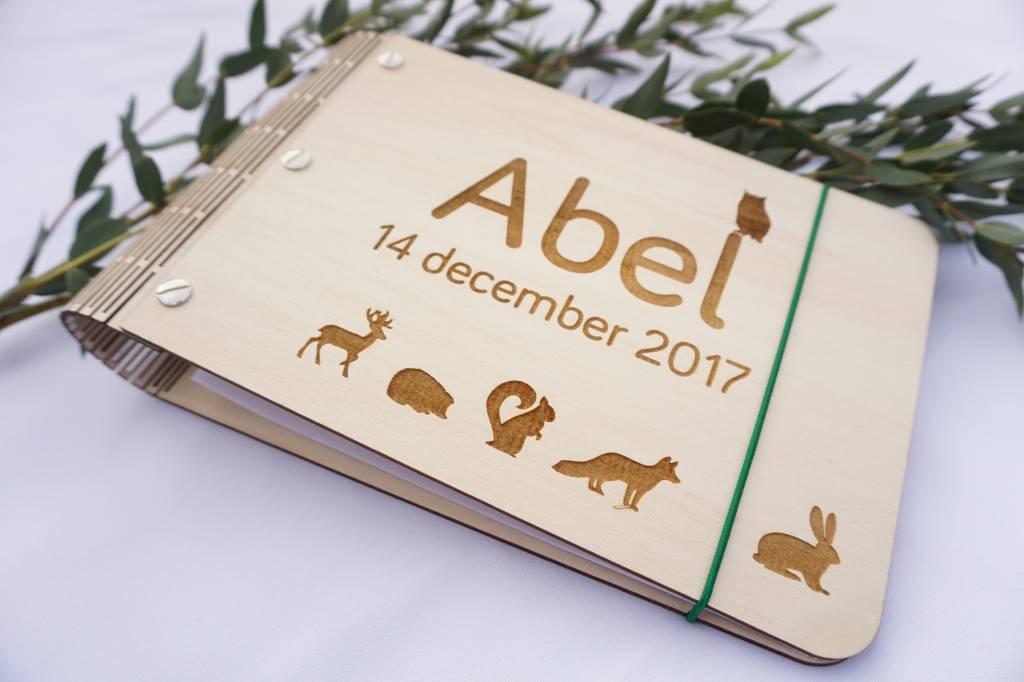Klein kraamboek met grote bosdieren A5