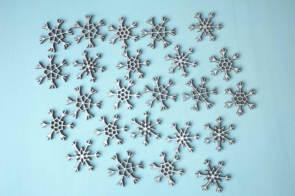 set van 24 kleine sneeuwvlokken