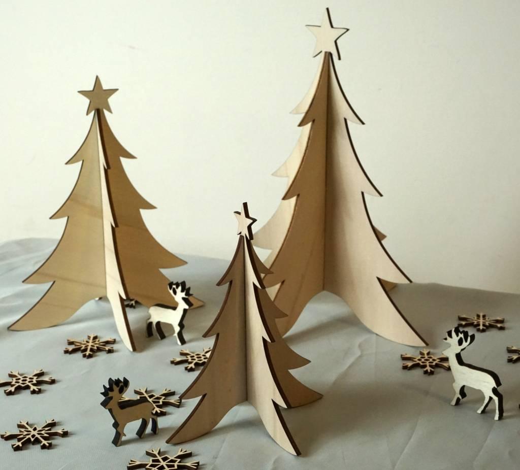 Houten kerstboompjes set van 3