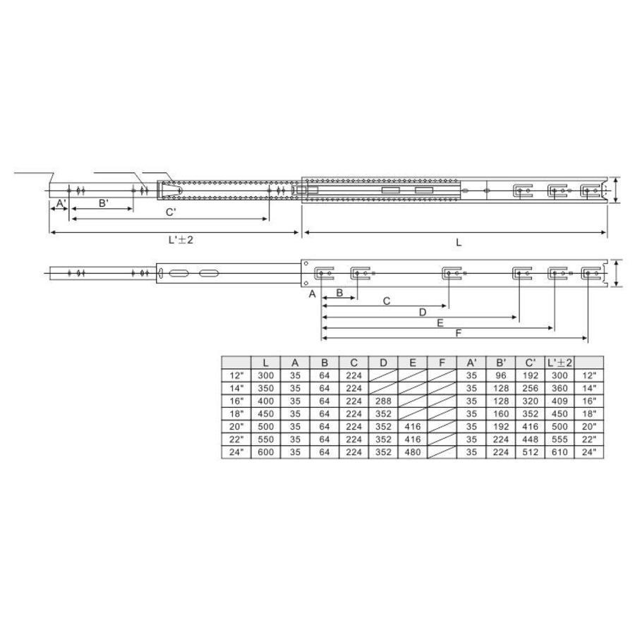 Volledig uittrekbare ladegeleiders 350mm standaard - 30KG