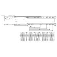 Volledig uittrekbare ladegeleiders 450mm standaard - 30KG