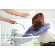 Opblaasbaar haarwasbekken voor aan de lavabo