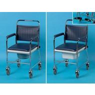 Chaise percée de toilette sur roues en acier