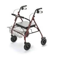 Déambulateur extra large, avec 4 roues, siège et panier, pliable