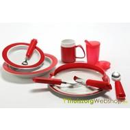 Assortiment d'aides techniques de couleur rouge pour personnes avec Alzheimer PQ