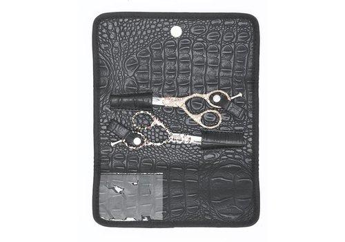 Sinelco Case 2 Zwarte Etui In Matte Kroko Vr 2 Scharen Sibel