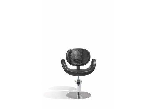 Sibel Furniture CONSCIENTIA KAPPERSSTOEL CROCO ZWART MET RONDE VOET