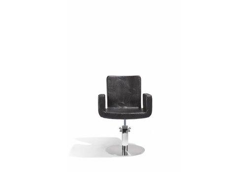 Sibel Furniture ATTRACTIO KAPPERSSTOEL CROCO ZWART MET RONDE VOET