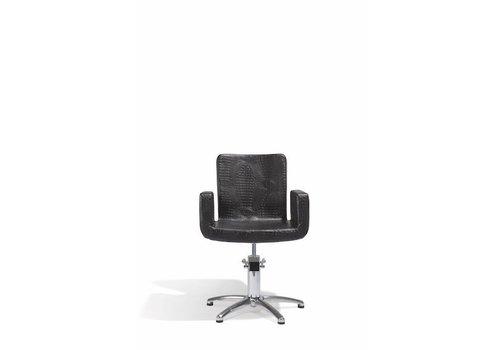 Sibel Furniture ATTRACTIO KAPPERSSTOEL CROCO ZWART MET 5 STERREN VOET