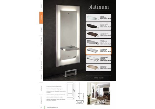 Salon Ambience PLATINUM STYLING UNIT, ALUM.RECT.SHELF, FOOTREST FR/040
