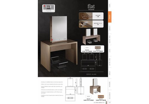 Salon Ambience FLAT ISLAND STYLING UNIT-FOUR POSITIONS,ELMWOOD