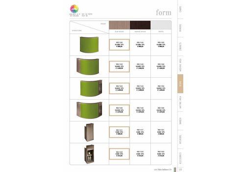 Salon Ambience FORM ELMWOOD RECEPTION CURVED SKY PANEL+DISPLAY CABINET