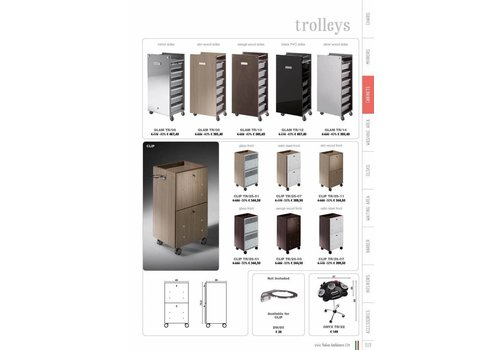 Salon Ambience CLIP TROLLEY MET SATIN STEEL FRONTS