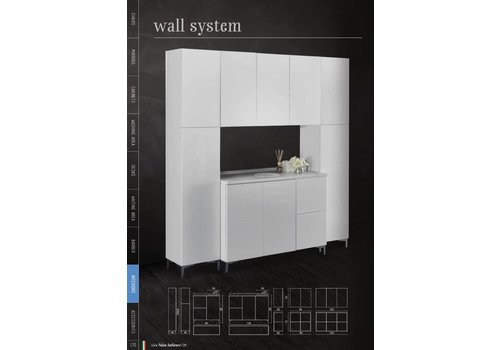 Salon Ambience Wall System Wit 120 Base Rh Drawers,Wit Gloss Front