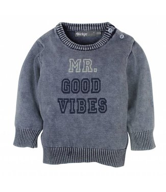 Dirkje kinderkleding Dirkje Babywear blauwe jongens sweater mr. good vibes