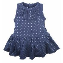 Dirkje Babywear blauwe jurk zilveren bollen