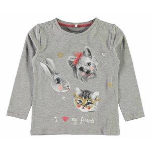 Name-it Name-it grijze meisjes t-shirt Dabina