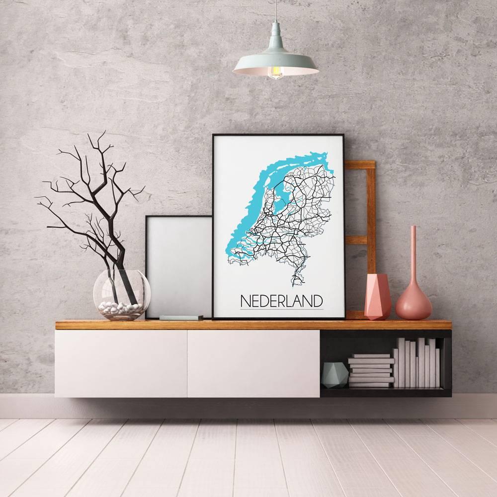 Nederland - Landkaart - Plattegrond - Interieur poster ...