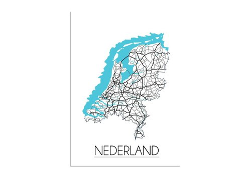 DesignClaud Nederland Landkaart Plattegrond - Interieur poster - Wanddecoratie - witte achtergrond - zwart wit poster