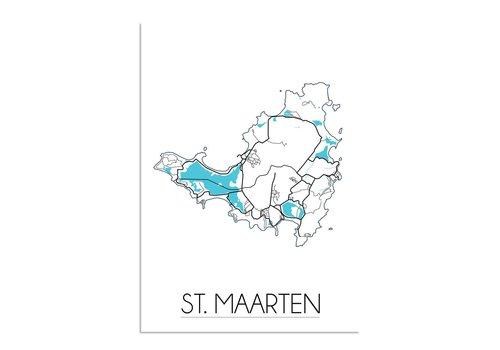 DesignClaud St. Maarten Landkaart Plattegrond poster - Zwart wit blauw