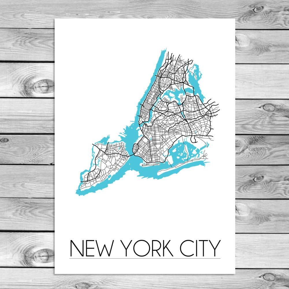 New York City Stadtplan Karte Poster - Weiß Schwarz Blau -