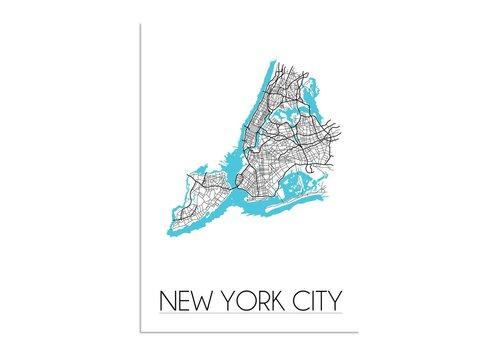 DesignClaud New York City Stadtplan Karte Poster - Weiß Schwarz Blau