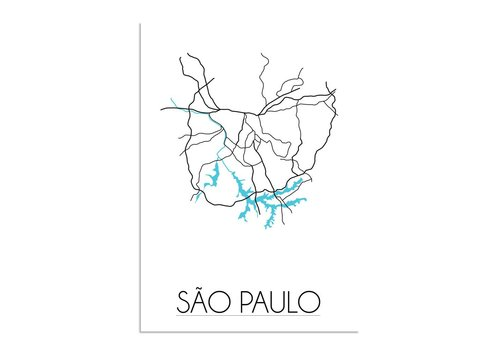 DesignClaud Sao Paulo - Stadskaart - Plattegrond - Interieur poster - witte achtergrond - zwart wit poster
