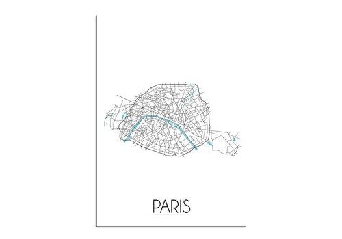 DesignClaud Super Sale: Parijs Stadskaart Plattegrond poster - Wit zwart blauw - A4 formaat