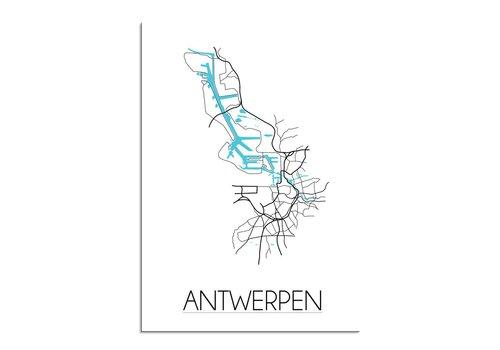 DesignClaud Antwerpen Stadskaart Plattegrond poster - Wit zwart blauw