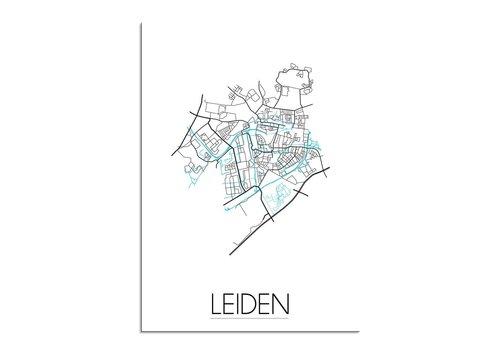 DesignClaud Leiden Stadskaart Plattegrond poster - Wit zwart blauw