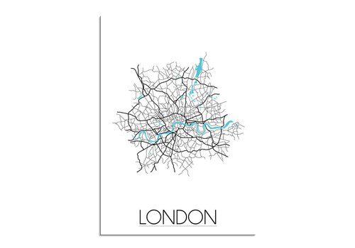DesignClaud London Stadtplan Karte Poster - Weiß schwarz blau