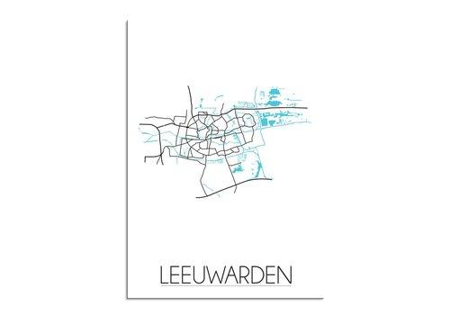 DesignClaud Leeuwarden - Stadskaart - Plattegrond - Interieur poster - witte achtergrond - zwart wit poster