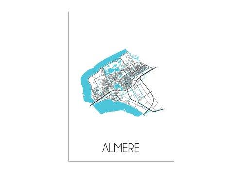 DesignClaud Almere - Stadskaart - Plattegrond - Interieur poster - Wit