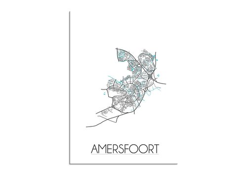 DesignClaud Amersfoort - Stadskaart - Plattegrond - Interieur poster - Wit