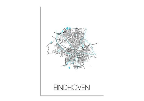 DesignClaud Eindhoven - Stadskaart - Plattegrond - Interieur poster - Wit