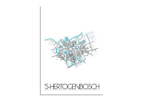 DesignClaud s-Hertogenbosch - Stadskaart - Plattegrond - Interieur poster - Wit