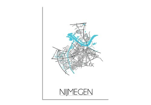 DesignClaud Nijmegen - Stadskaart - Plattegrond - Interieur poster - Wit