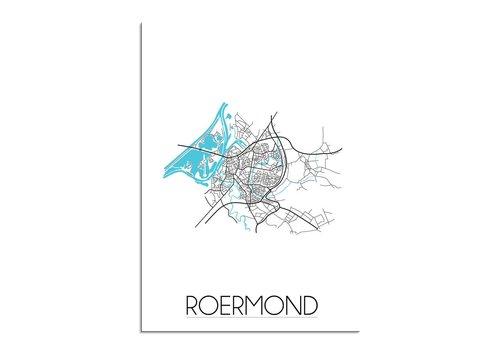 DesignClaud Roermond - Stadskaart - Plattegrond - Interieur poster - Wit