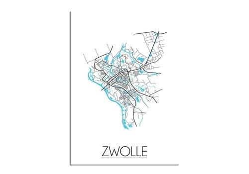 DesignClaud Zwolle - Stadskaart - Plattegrond - Interieur poster - Wit