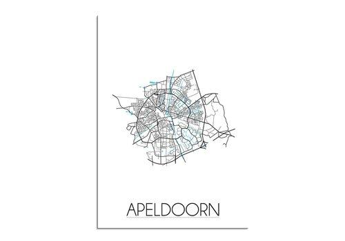 DesignClaud Apeldoorn - Stadskaart - Plattegrond - Interieur poster - Wit