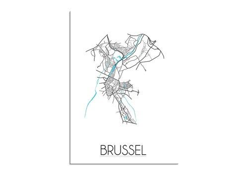 DesignClaud Brussel - Stadskaart - Plattegrond - Interieur poster - Wit