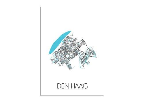DesignClaud Den Haag - Stadskaart - Plattegrond - Interieur poster - Wit