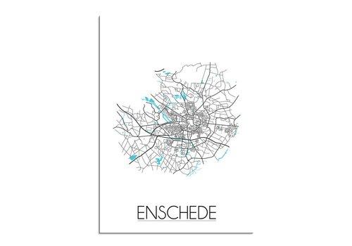 DesignClaud Enschede - Stadskaart - Plattegrond - Interieur poster - Wit