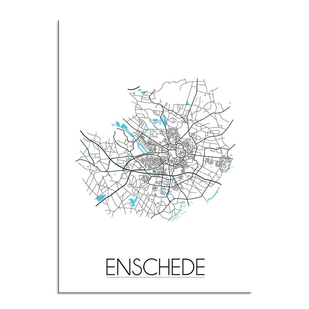 enschede stadskaart plattegrond interieur poster