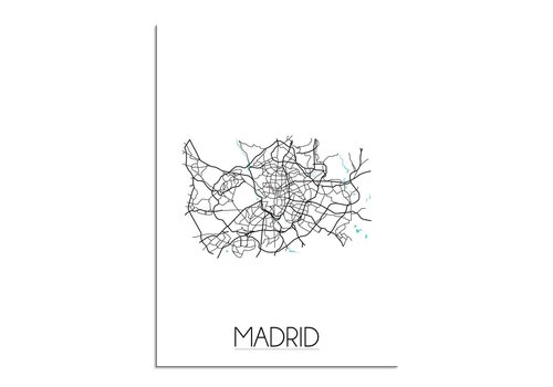 DesignClaud Madrid - Stadskaart - Plattegrond - Interieur poster - Wit