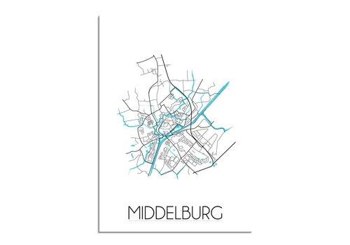 DesignClaud Middelburg - Stadskaart - Plattegrond - Interieur poster - Wit