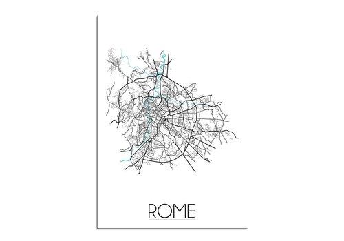 DesignClaud Rome - Stadskaart - Plattegrond - Interieur poster - Wit