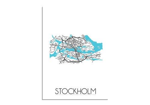 DesignClaud Stockholm - Stadskaart - Plattegrond - Interieur poster - Wit