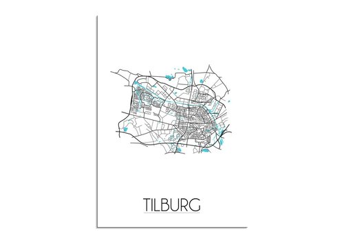 DesignClaud Tilburg - Stadskaart - Plattegrond - Interieur poster - Wit