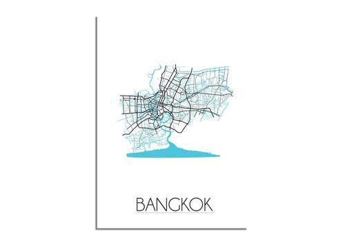 DesignClaud Bangkok - Stadskaart - Plattegrond - Interieur poster - Wit